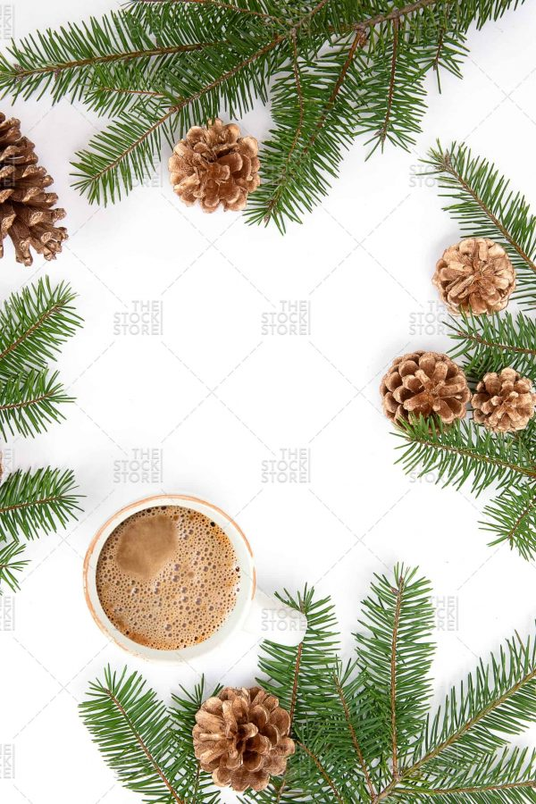PIne with Pinecones and coffee seasonal styled stock photo