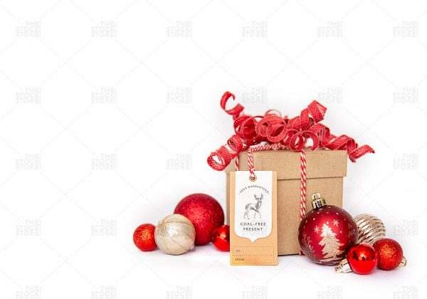 gift with red ornaments and a gift tag